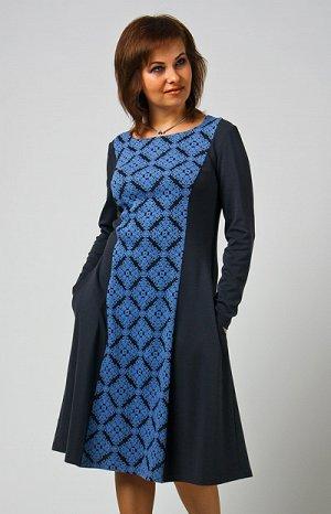 Платье Цена до скидки 1500 Расклешенное платье с рельефами. Великолепный трикотаж, стильный дизайн и фактура! Ткань:вискоза/пэ