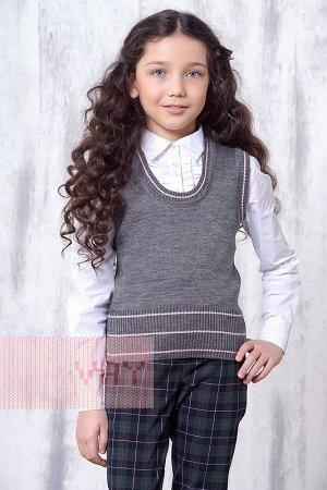 Жилет для девочек школьный (128, серый)