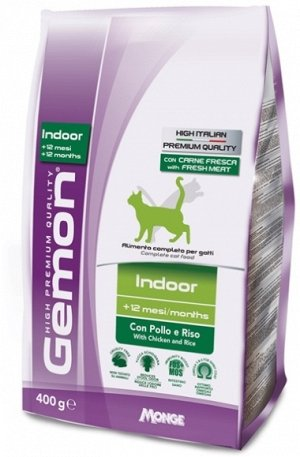 Gemon Cat Indoor корм для домашних кошек с курицей и рисом 400г
