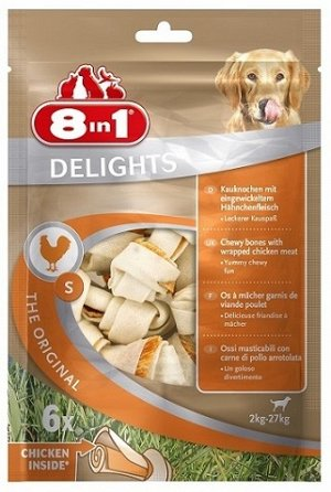 8in1 DELIGHTS S косточки с куриным мясом для мелких и средних собак 11 см 6 шт (пакет)