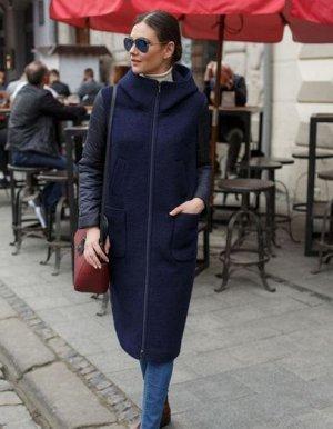 Пальто женское-плащ комбинированнный с шерстью черный/синий