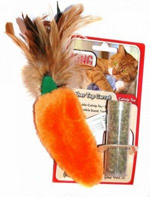 """KONG игрушка для кошек """"Морковь"""" 15 см плюш с тубом кошачьей мяты"""