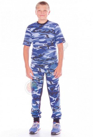 Футболка КМФ, синий.серый