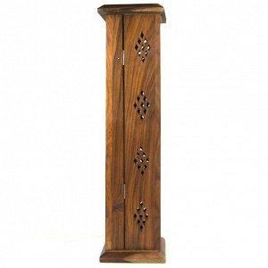 Подставка для благовоний Башня / пенал, дерево 31см