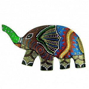 Панно Слон цветной, дерево 23х13см