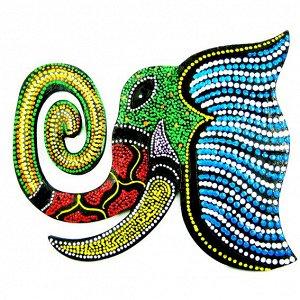 Панно Слон цветной, дерево 19х15см