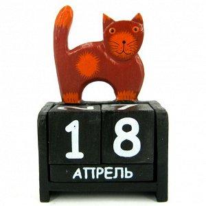 Календарь Кошка, дерево 10х15см