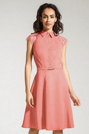 Платье с гипюром классное, кораллового цвета