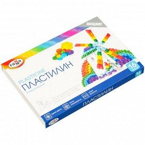 """Пластилин Гамма """"Классический"""", 16 цветов, 320г, со стеком, картон. упак."""