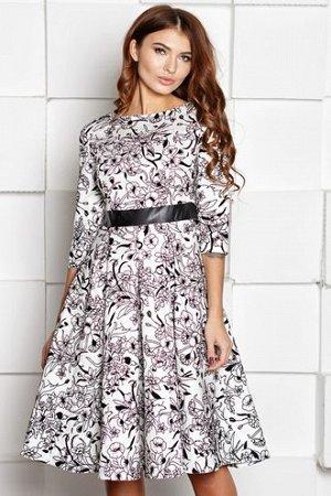 Платье Юлия белый жаккард с кожаным поясом (П-88-6)