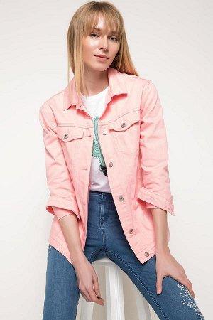 Куртка джинсовая розовая женская