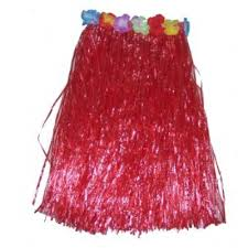 Гавайи Юбка пластик. солома, 60 см, красная