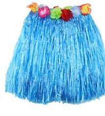 Гавайи Юбка пластик. солома, 60 см, синяя