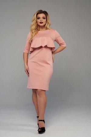 Платье Мягкое, нежное, но в тоже время теплое платье из джерси персикового оттенка. Платье прилегающего силуэта, с втачным рукавом 3/4 и горловины лодочка. Оригинальность платью придает мягкий волан п