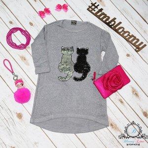 """Ассиметричное платье """"Коты""""  серебро/розовый"""