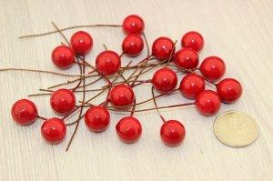Ягода красная на проволке, 12-13мм, упаковка 100шт В наличии