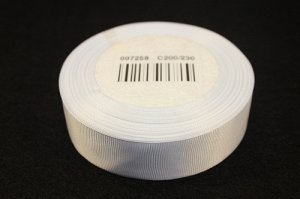 Репсовая лента однотонная (белый) 25мм * 20 ярдов (+-1м)