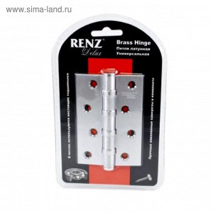 Петля дверная RENZ BH 4BB FH SC, 100х70х3 мм, б/колп, 4 подшипника, цвет матовый хром