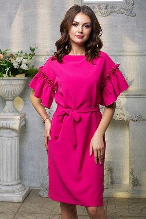 Платье с рукавом волан цвет розовый