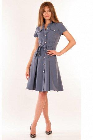 Платье Сафари серо-голубой