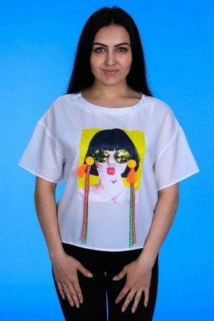 """Блуза с нашивкой """"Девушка в очках"""" укороченная спереди """" MARIMAY 8010-1 """" белый р: 44"""