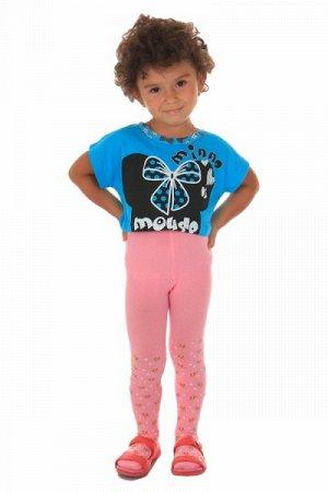 """Детские хлопковые колготки с тормозами """" Роза NO:9979 """" цветы розовые рост:68-74см"""