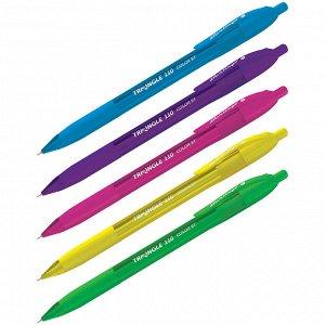 """Ручка шариковая автоматическая Berlingo """"Triangle 110 RT Color"""" синяя, 0,7мм, трехгр., игол.стержень"""