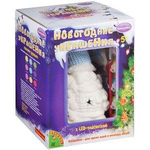 """Набор для творчества Bondibon""""Новогодние украшения"""" сувенир Снеговик с подсветкой LED"""
