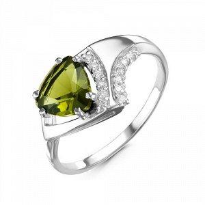 Серебряное кольцо с фианитом оливкового цвета 828