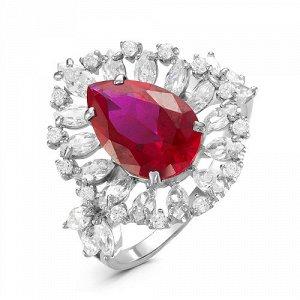 Серебряное кольцо с фианитом цвета рубин 078