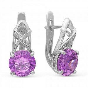 Серебряные серьги с фиолетовыми фианитами - 135