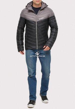 Мужская осенняя весенняя спортивная куртка стеганная черного цвета