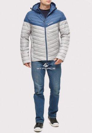 Мужская осенняя весенняя спортивная куртка стеганная светло-серого цвета