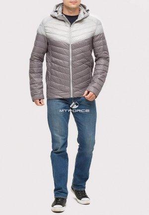 Мужская осенняя весенняя спортивная куртка стеганная серого цвета