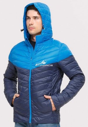 Мужская осенняя весенняя спортивная куртка стеганная темно-синего цвета