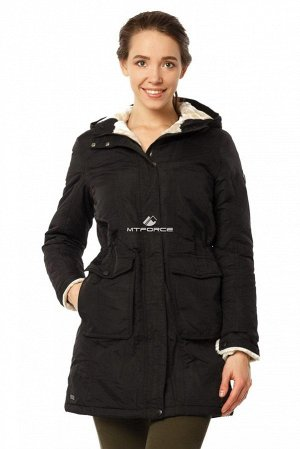 Куртка парка демисезонная женская черного цвета