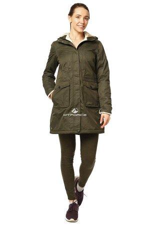 Куртка парка демисезонная женская хаки цвета