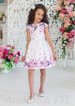 Нарядное платье с полурукавчиком и небольшим вырезом по горловине