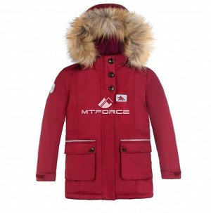 Куртка парка зимняя подростковая для мальчика бордового цвета