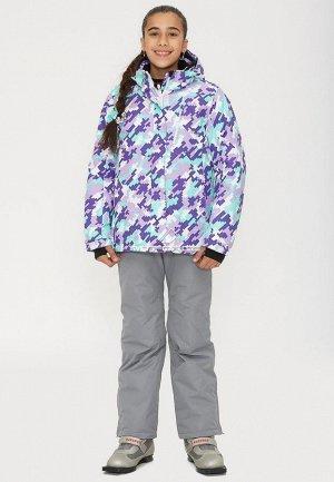 Подростковый для девочки зимний горнолыжный костюм фиолетового цвета
