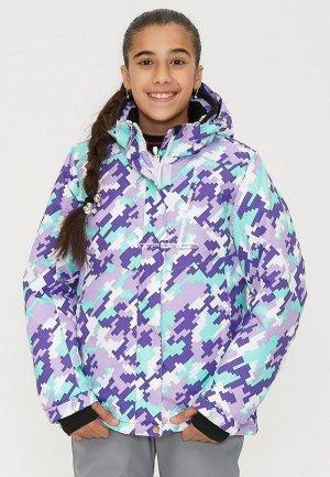 Подростковая для девочки зимняя горнолыжная куртка фиолетового цвета