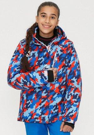 Подростковая для девочки зимняя горнолыжная куртка красного цвета