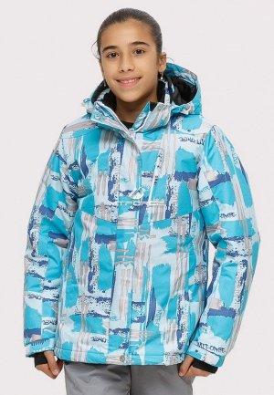 Подростковая для девочки зимняя горнолыжная куртка голубого цвета