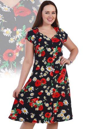 Платье Ромашки-маки,Ткань: вискоза,Состав: 95% вискоза, 5% лайкра
