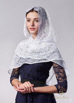 Платок женский для церкви Платок Роза Взрослый Белый