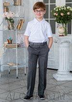 Виконт брюки классические на утяжке цвет т.серый