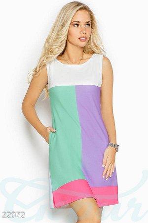 Трехцветное платье-трапеция р-р.М