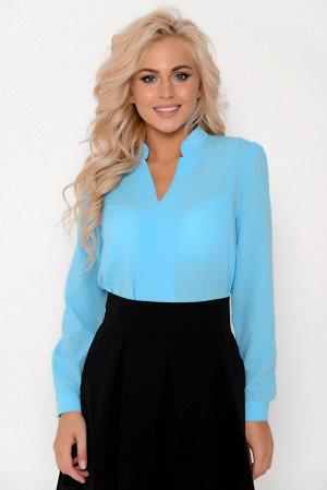 Блузка голубая креп-шифон