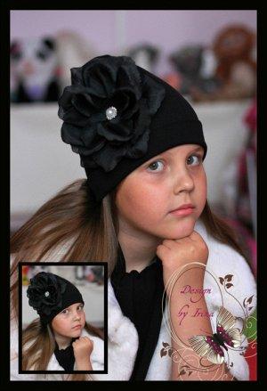 """Черная шапочка с розой """"Марокко""""..."""