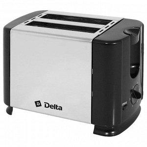 Тостер DELTA  DL-61 нерж черный (12) 700Вт, 2ломтика, 6-ти позиционный таймер (РОССИЯ)